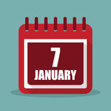 Calendar with 7 january in a flat design. Vector illustration. Calendar  with 7 january in a flat design. Vector illustration Royalty Free Stock Photo