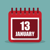 Calendar with 13 january in a flat design. Vector illustration. Calendar  with 13 january in a flat design. Vector illustration Stock Images