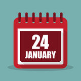 Calendar with 24 january in a flat design. Vector illustration. Calendar  with 24 january in a flat design. Vector illustration Stock Photo