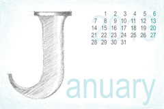 Calendar january pencil hand draw Stock Photography