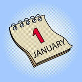 Calendar January 1 pop art vector illustration. Calendar January 1 pop art design vector illustration. Book separate objects. Almanac hand drawn doodle design Stock Photography