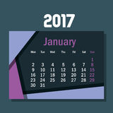 Calendar january 2017 template icon. Vector illustration design Stock Photography