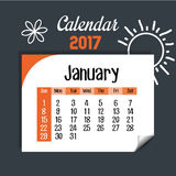 Calendar january 2017 template icon. Vector illustration design Royalty Free Stock Image