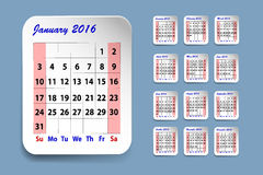Calendar for January 2016 Stock Images