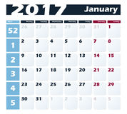 Calendar 2017 January vector design template. Week starts with Monday. European version Royalty Free Stock Photo