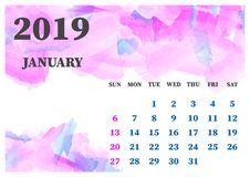 Calendar January 2019 watercolor vector illustration. Layers gro royalty free stock images