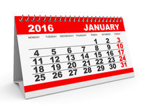 Calendar January 2016. Royalty Free Stock Photos