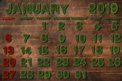 Calendar for January 2019 on white background,. 3d rendering green grass royalty free illustration