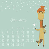 Calendar for january 2014. Year of the Horse. Royalty Free Stock Image
