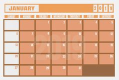 Calendar 2019 January year and planner for planning tasks and t vector illustration