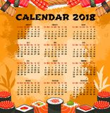Calendar of japanese cuisine sushi Stock Images