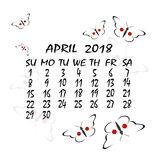 Calendar for 2018. Japanese style. The month of April Royalty Free Stock Images