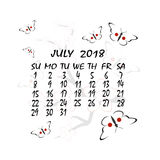 Calendar for 2018. Japanese style. The month of July Stock Photography