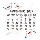 Calendar for 2018. Japanese style. The month of November Stock Photography
