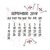 Calendar for 2018. Japanese style. The month of September Stock Image