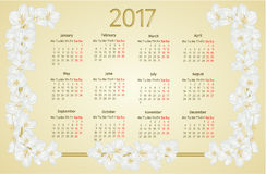 Calendar 2017 with jasmine flowers vintage vector. Illustration Royalty Free Stock Image