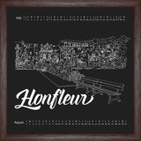 Calendar 2017 july, august with city sketching Honfleur, France on chalkboard background. Vector illustration for your design royalty free illustration