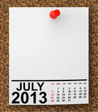 Calendar July 2013. On blank note paper with free space for your text Royalty Free Stock Photography