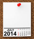 Calendar July 2014 Royalty Free Stock Images
