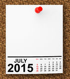 Calendar July 2015 Stock Photo