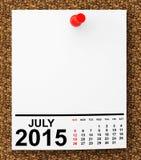 Calendar July 2015 Stock Photo
