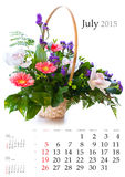 2015 Calendar. July. Bright flower bouquet on white background Stock Images