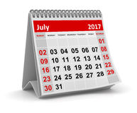 Calendar - July 2017 Royalty Free Stock Photography