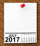 Calendar July 2017. 3d Rendering. Calendar July 2017 on blank note paper with free space for your text.3d Rendering Stock Image