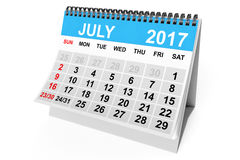 Calendar July 2017. 3d Rendering. 2017 year calendar. July calendar on a white background. 3d Rendering Stock Image