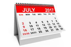 Calendar July 2017. 3d rendering. 2017 year calendar. July calendar on a white background. 3d rendering Royalty Free Stock Photo