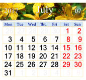 Calendar for July 2017 with flowers of St.-John`s wort Royalty Free Stock Photos