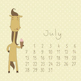 Calendar for july 2014. Royalty Free Stock Images