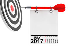 Calendar July 2017 with target. 3d Rendering. Calendar July 2017 on blank note paper with free space for your text with target. 3d Rendering Stock Image