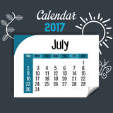 Calendar july 2017 template icon. Vector illustration design Royalty Free Stock Photography