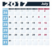 Calendar 2017 July vector design template. Week starts with Monday. European version Royalty Free Stock Image