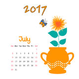 Calendar July 2017. Vector Template. Week starts Sunday. Vector nice calendar template for July 2017 Stock Photography