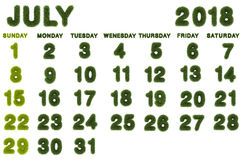 Calendar for July 2018 on white background. 3d rendering green grass Royalty Free Stock Photos