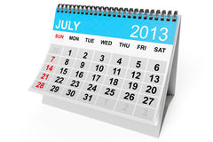Calendar July 2013. 2013 year calendar. July calendar on a white background Stock Image