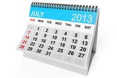 Calendar July 2013 Stock Image