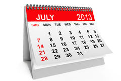 Calendar July 2013. 2013 year calendar. July calendar on a white background Royalty Free Stock Images