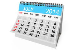 Calendar July 2014 Royalty Free Stock Photo