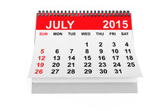 Calendar July 2015. 2015 year calendar. July calendar on a white background vector illustration