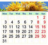 Calendar for July 2017 with yellow sunflower Royalty Free Stock Images