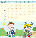 Calendar - June 2009. Page of june calendar 2009, with a little scene where we can see children playing and riding on bicycles Stock Photography