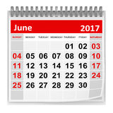 Calendar - June 2017. This is a 3d rendered computer generated image. Isolated on white stock illustration