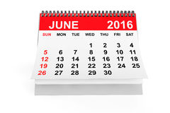 Calendar June 2016. 3d rendering. 2016 year calendar. June calendar on a white background. 3d rendering stock illustration