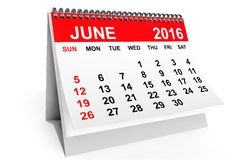 Calendar June 2016. 3d rendering. 2016 year calendar. June calendar on a white background. 3d rendering vector illustration