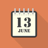 Calendar with 13 june in a flat design. Vector illustration Royalty Free Stock Images