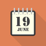 Calendar with 19 june in a flat design. Vector illustration Royalty Free Stock Images