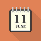 Calendar with 11 june in a flat design. Vector illustration. Calendar  with 11 june in a flat design. Vector illustration Royalty Free Stock Photos